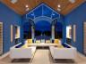 Upstairs indoor-outdoor seating area