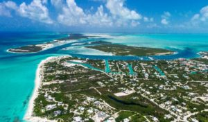 northeast view of leeward turks and caicos islands from drone