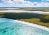 north caicos turks and caicos islands drone view of beach